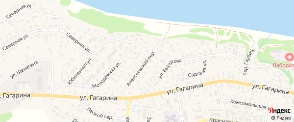 Алексеевский переулок на карте села Красноборска с номерами домов