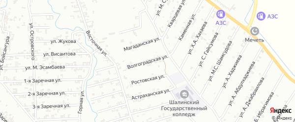 Волгоградская улица на карте Шали с номерами домов