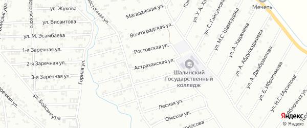 Астраханская улица на карте Шали с номерами домов