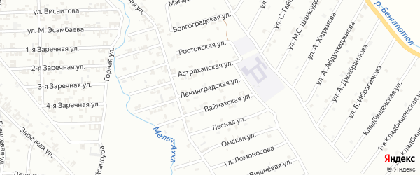 Ленинградская улица на карте Шали с номерами домов