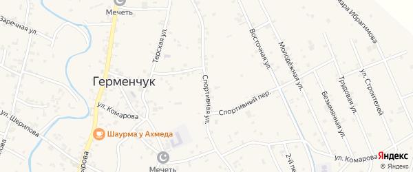 Спортивная улица на карте Шали с номерами домов