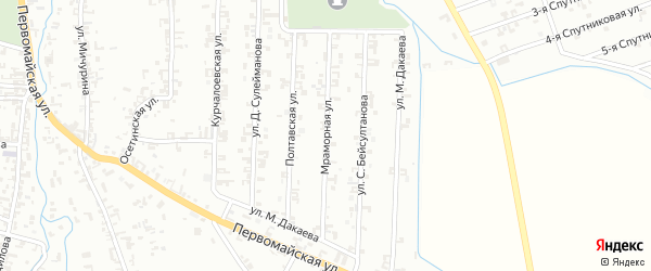 Мраморная улица на карте Шали с номерами домов