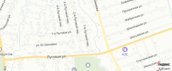 Луговой 1-й переулок на карте Шали с номерами домов