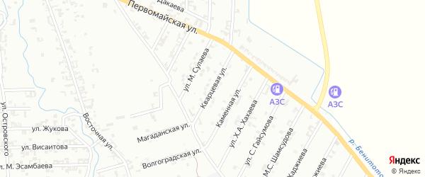 Кварцевая улица на карте Шали с номерами домов