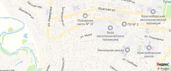 Улица Мира на карте села Красноборска с номерами домов