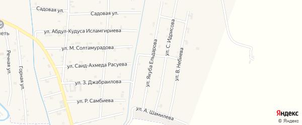 Улица Якуба Ельдарова на карте села Герменчук с номерами домов