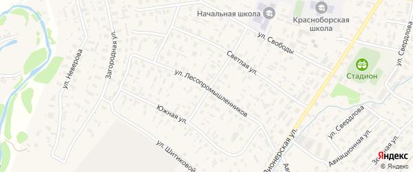 Улица Лесопромышленников на карте села Красноборска с номерами домов