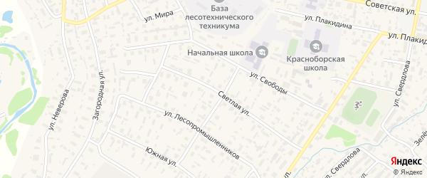 Светлая улица на карте села Красноборска с номерами домов