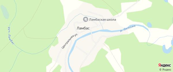 Карта поселка Ламбаса в Архангельской области с улицами и номерами домов