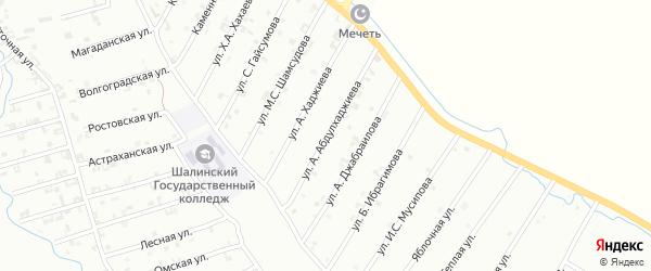 Улица А.Абдулхаджиева на карте Шали с номерами домов