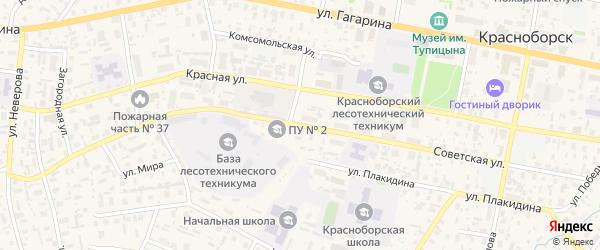 Советская улица на карте села Красноборска с номерами домов