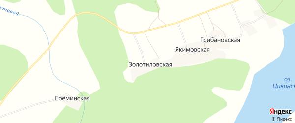 Карта Золотиловской деревни в Архангельской области с улицами и номерами домов