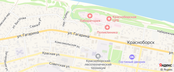 Улица Гагарина на карте села Красноборска с номерами домов