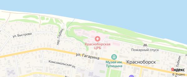 Больничный переулок на карте села Красноборска с номерами домов