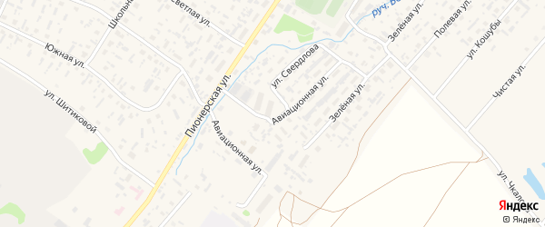 Авиационная улица на карте села Красноборска с номерами домов