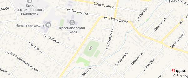 Пролетарская улица на карте села Красноборска с номерами домов
