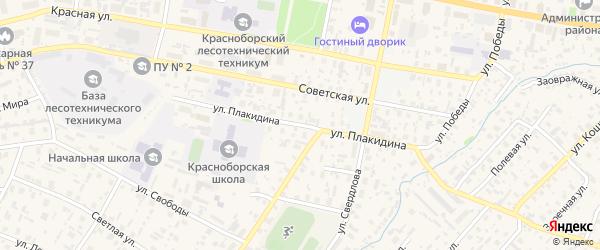 Улица Плакидина на карте села Красноборска с номерами домов