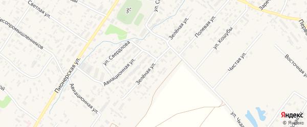 Зеленая улица на карте села Красноборска с номерами домов
