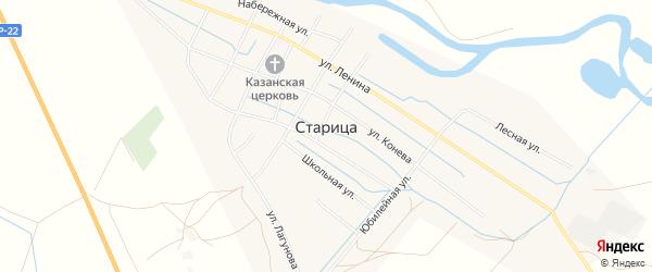 Карта села Старицы в Астраханской области с улицами и номерами домов