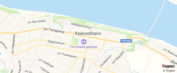 Карта села Красноборска в Архангельской области с улицами и номерами домов