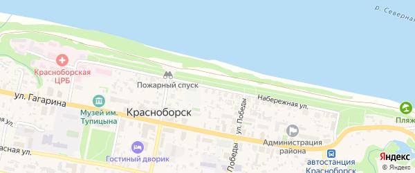 Улица Набережная имени В.И.Ленина на карте села Красноборска с номерами домов