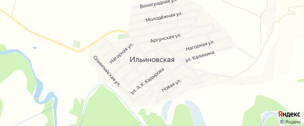 Карта Ильиновская станицы в Чечне с улицами и номерами домов