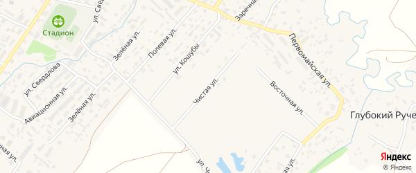 Чистая улица на карте села Красноборска с номерами домов