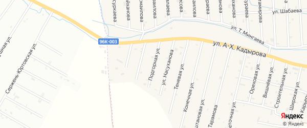 Подгорная улица на карте села Сержень-Юрт с номерами домов