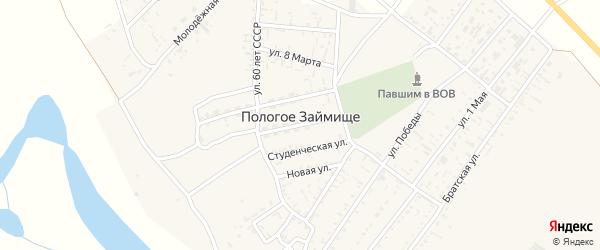1 Мая улица на карте села Пологого Займища с номерами домов