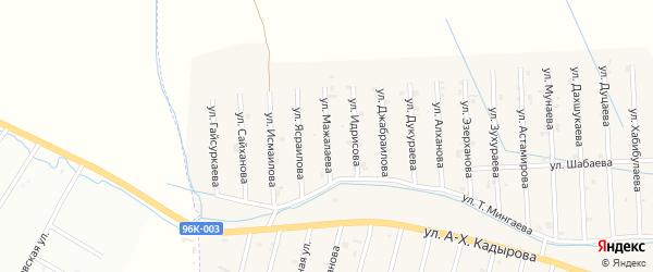Улица А.Мажалаева на карте села Сержень-Юрт с номерами домов