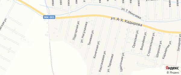 Тенистая улица на карте села Сержень-Юрт с номерами домов