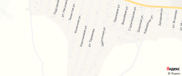 Переулок Тарамова на карте села Сержень-Юрт с номерами домов