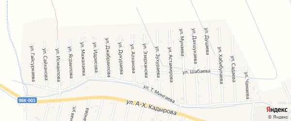 Улица Н.Эзерханова на карте села Сержень-Юрт с номерами домов
