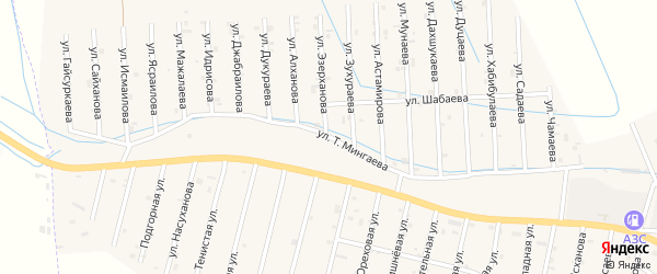 Улица Т.Мингаева на карте села Сержень-Юрт с номерами домов