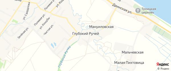 Карта деревни Глубокого Ручья в Архангельской области с улицами и номерами домов