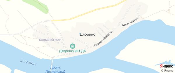 Карта поселка Дябрино в Архангельской области с улицами и номерами домов
