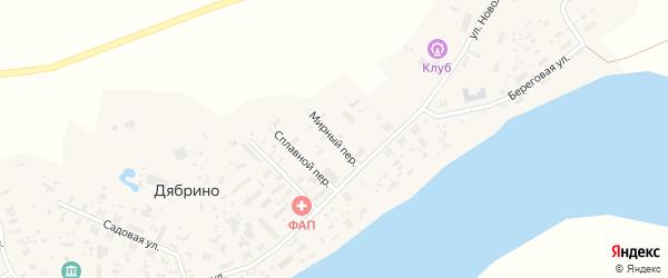 Мирный переулок на карте поселка Дябрино с номерами домов
