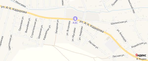 Улица Мусаева на карте села Сержень-Юрт с номерами домов