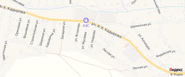 Улица Т.Умарова на карте села Сержень-Юрт с номерами домов