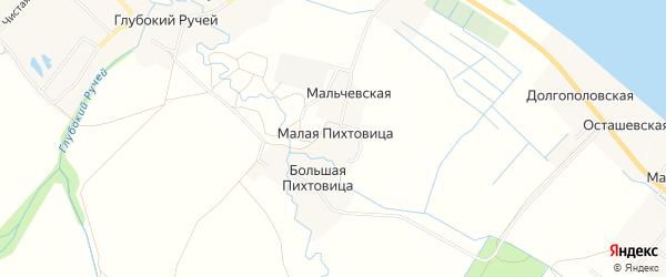 Карта деревни Малой Пихтовицы в Архангельской области с улицами и номерами домов