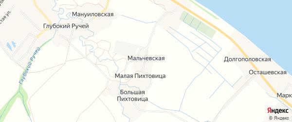 Карта Мальчевской деревни в Архангельской области с улицами и номерами домов