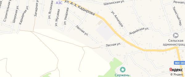 Лесная улица на карте села Сержень-Юрт с номерами домов
