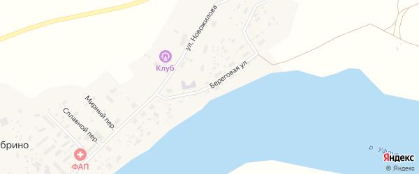 Береговая улица на карте поселка Дябрино с номерами домов