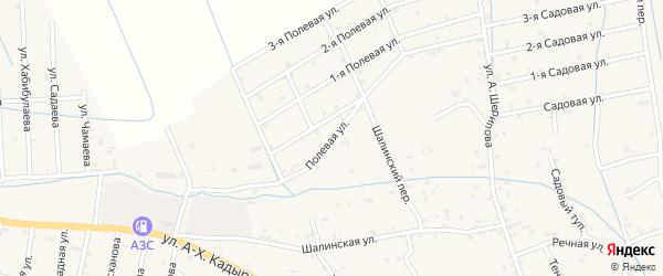Полевая улица на карте села Сержень-Юрт с номерами домов