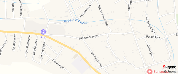 Шалинская улица на карте села Сержень-Юрт с номерами домов