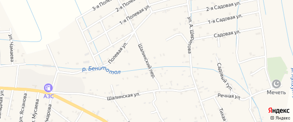 Шалинский переулок на карте села Сержень-Юрт с номерами домов