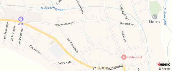 Спокойная улица на карте села Сержень-Юрт с номерами домов
