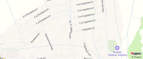 Улица А.Шерипова на карте села Сержень-Юрт с номерами домов