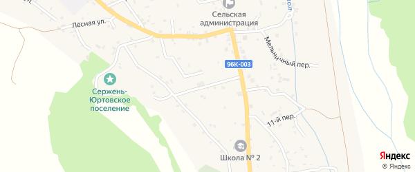 Коммунистическая улица на карте села Сержень-Юрт с номерами домов
