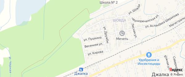Улица Пушкина на карте села Джалка с номерами домов